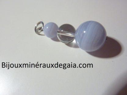 Pendentif calcédoine bleue-Quartz cristal de roche : perles rondes 14-10-8 mm