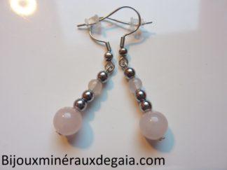 Boucles d'oreilles Quartz rose-Hématite perles rondes 8-4 mm
