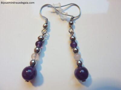 Boucles d'oreilles Améthyste-Quartz rose-Hématite perles rondes 6-4 mm