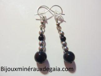 Boucles d'oreilles Tourmaline noire-Hématite perles rondes 8-4 mm