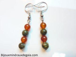 Boucles d'oreilles cornaline-Unakite épidote : perles rondes 6 mm