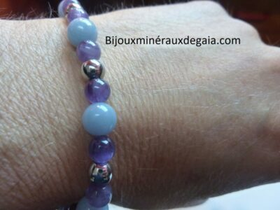 Bracelet Améthyste-Angélite-Hématite