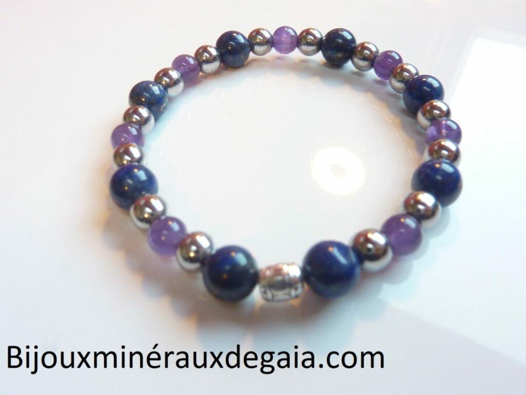 Bracelet Lapis lazuli-Améthyste-Hématite perles rondes 8-6 mm
