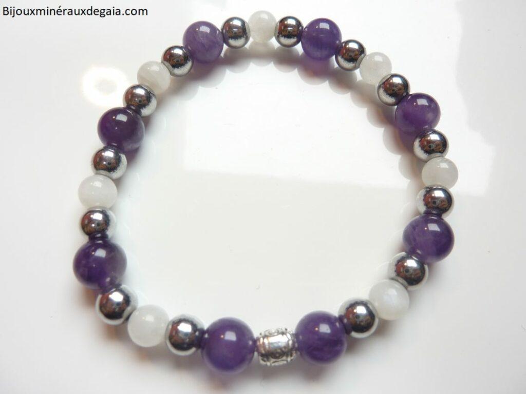 Bracelet Pierre de lune-Améthyste-Hématite: perles rondes 8-6 mm