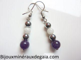 Boucles d'oreilles Pierre de lune-Améthyste-Hématite: perles rondes 8-6 mm