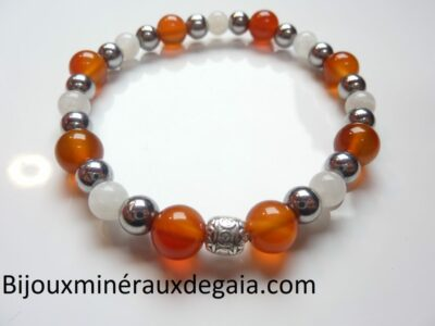 Bracelet Pierre de lune-Cornaline-Hématite