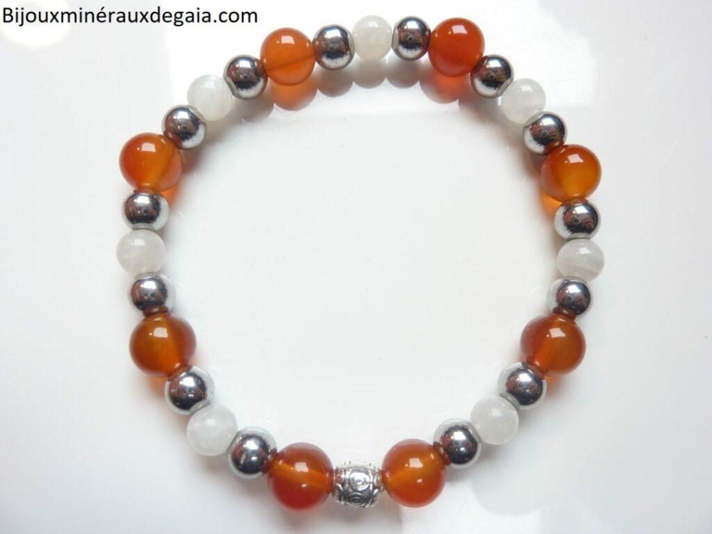 Bracelet Pierre de lune-Cornaline-Hématite: perles rondes 8-6 mm