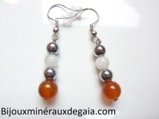 Boucles d'oreilles Pierre de lune-Cornaline-Hématite: perles rondes 8-6 mm