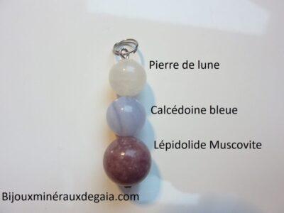 Pendentif Lépidolite-Pierre de lune-calcédoine bleue anti-stress