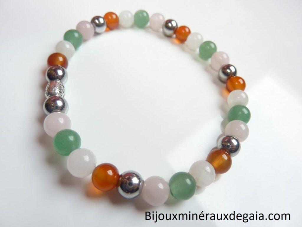 Bracelet Pierre de lune-cornaline-Aventurine-quartz rose-Hématite
