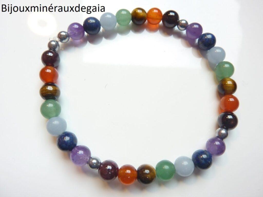 Bracelet 7 CHAKRAS Améthyste-aventurine-cornaline-hématite