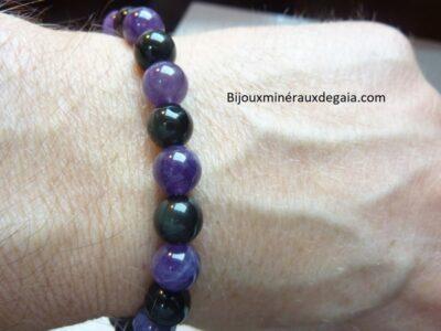 Bracelet Améthyste-Obsidienne oeil céleste perles 8 mm