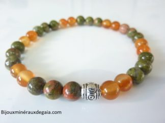 Bracelet cornaline-Unakite épidote : perles rondes 6 mm