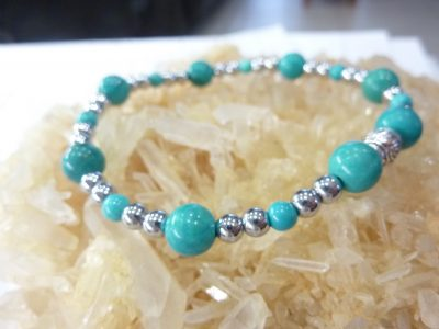 Bracelet Turquoise-Hématite perles rondes 7,5-4 mm