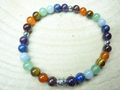 Bracelet 7 CHAKRAS Améthyste-aventurine-cornaline-hématite-oeil de tigre-lapis lazuli-angélite-grenat.