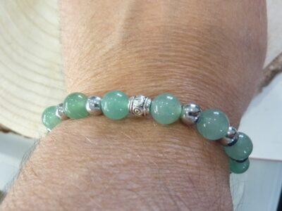 Bracelet Aventurine verte-Hématite perles rondes 8-6 mm