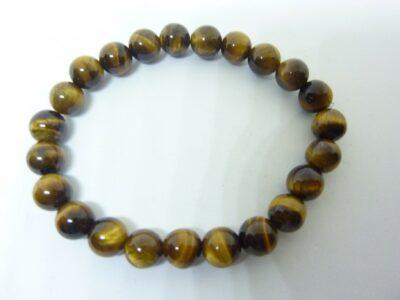 Bracelet oeil de tigre-Perles rondes 8 mm