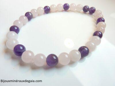 Bracelet Améthyste-Quartz rose perles rondes 6 mm