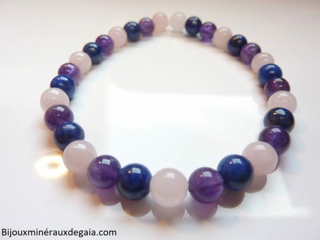 Bracelet Améthyste-Lapis lazuli-Quartz rose perles rondes 6 mm