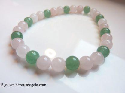 Bracelet Quartz rose-Aventurine verte perles rondes 6 mm