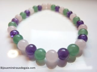 Bracelet Améthyste-Quartz rose-Aventurine verte perles rondes 6 mm