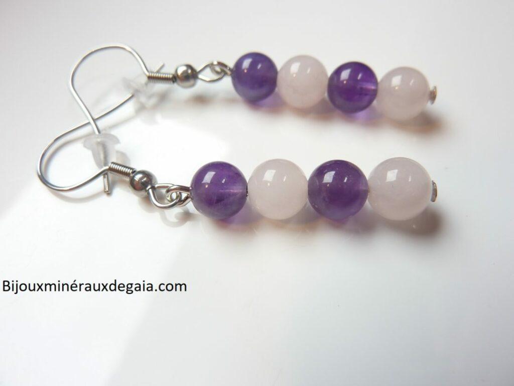 Boucles d'oreilles Améthyste-Quartz rose perles rondes 6 mm