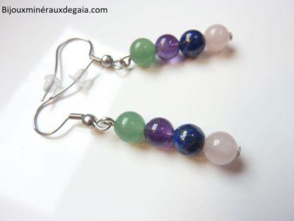 Boucles d'oreilles Améthyste-Lapis lazuli-Quartz rose-Aventurine perles 6 mm