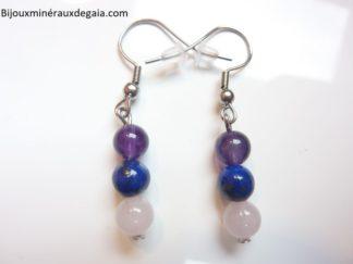 Boucles d'oreilles Améthyste-Lapis lazuli-Quartz rose perles rondes 6 mm