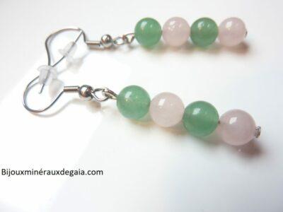 Boucles d'oreilles Quartz rose-Aventurine perles 6 mm