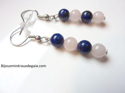 Boucles d'oreilles Quartz rose-Lapis lazuli perles 6 mm