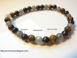 Bracelet oeil de tigre-Shungite-Labradorite : Perles rondes 6 mm