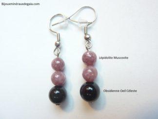 Boucles d'oreilles Lépidolite-Obsidienne oeil céleste Confiance en soi