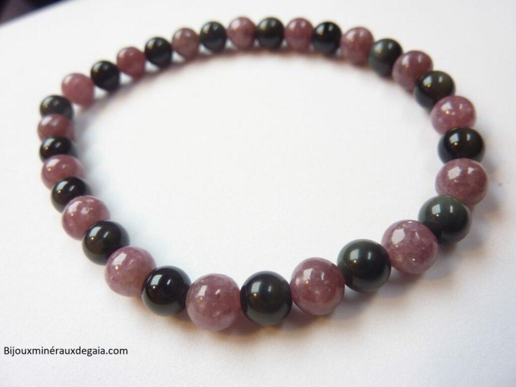 Bracelet Lépidolite-Obsidienne Oeil céleste