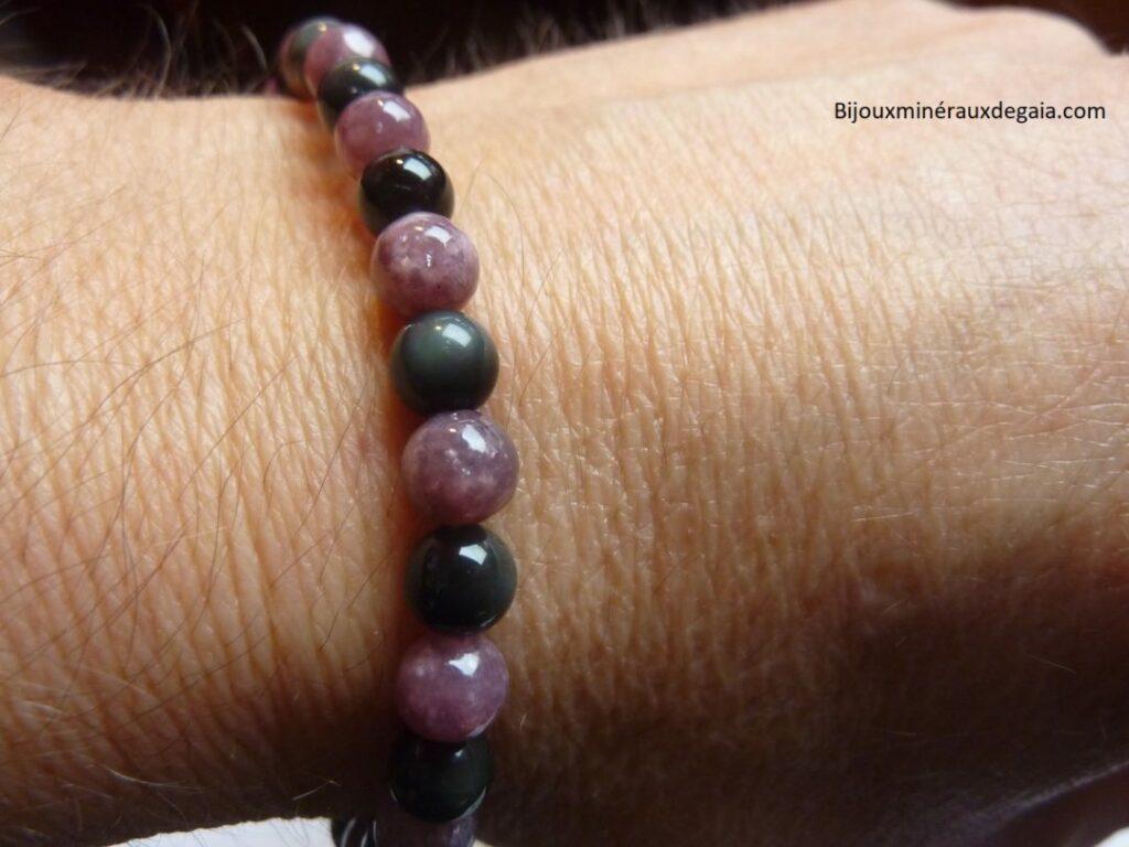 Bracelet Lépidolite-Obsidienne Oeil céleste perles rondes 6 mm Confiance en soi