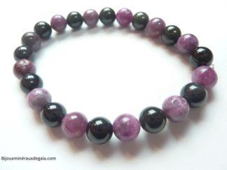Bracelet Lépidolite-Obsidienne Oeil céleste perles rondes 8 mm Confiance en soi
