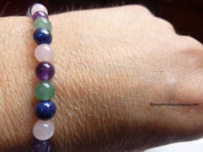 Bracelet Améthyste-Lapis lazuli-Quartz rose-Aventurine verte perles rondes 6 mm