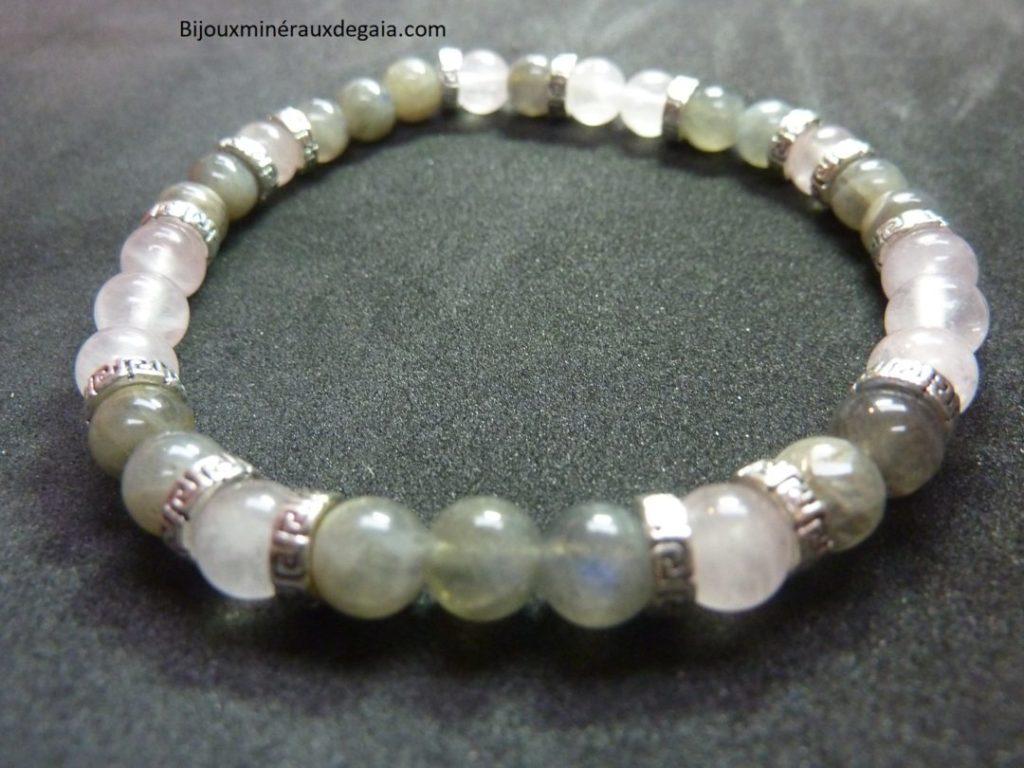 Bracelet Labradorite-quartz rose perles rondes 6 mm