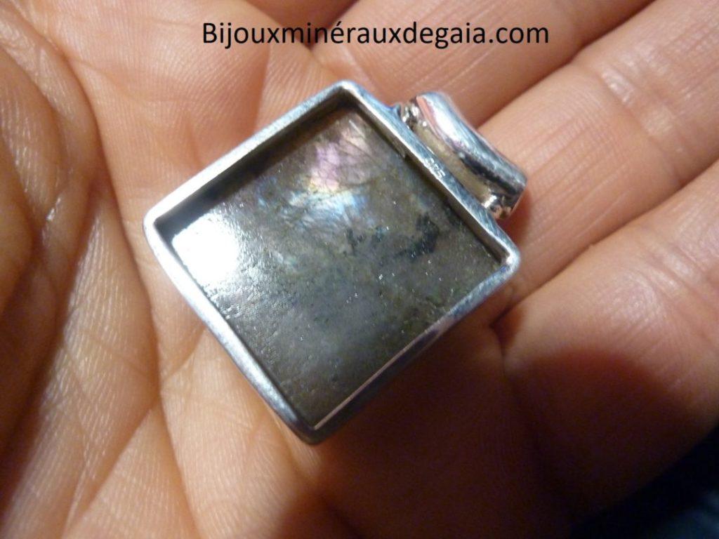 Pendentif protection labradorite violet très rare! Monture argent 925 ref 6352