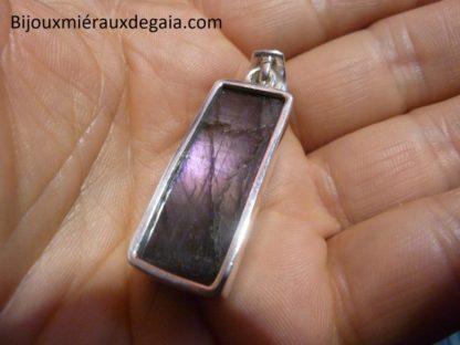 Pendentif protection labradorite violet très rare! Monture argent 925 ref 7338