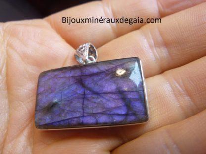 Pendentif protection labradorite violet très rare! Monture argent 925 ref 9921