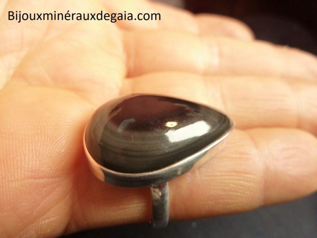 Bague obsidienne oeil celeste argent 925 taille 58 3/4 ref 4723