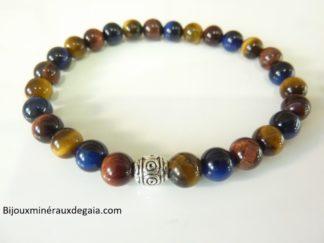 Bracelet Oeil de tigre-oeil de Faucon-oeil de Taureau : Perles rondes 6 mm