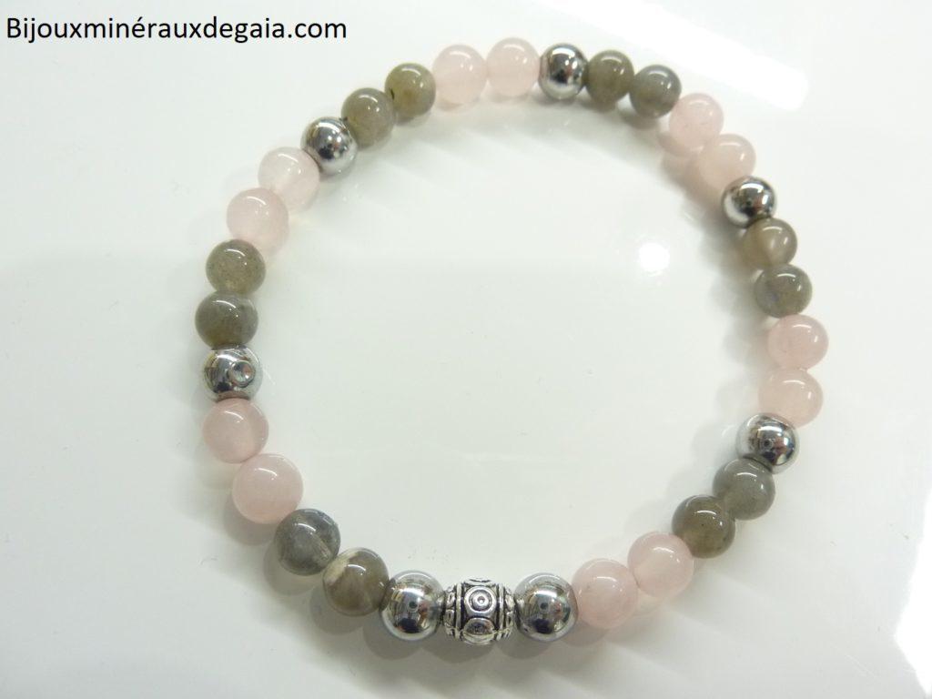 Bracelet Labradorite-hématite-quartz rose-perles rondes 6 mm