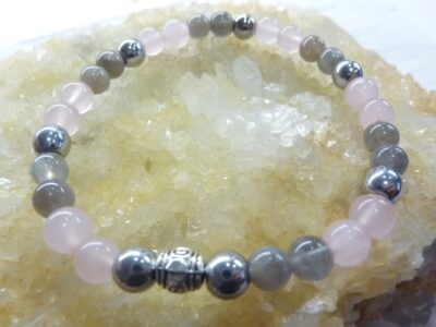 Bracelet Labradorite-hématite-quartz rose