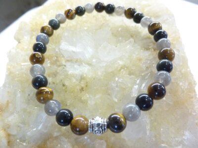 Bracelet oeil de tigre-labradorite-obsidienne oeil céleste