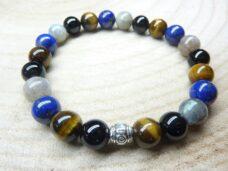 Bracelet Oeil de tigre-Labradorite-Lapis lazuli-Tourmaline noire