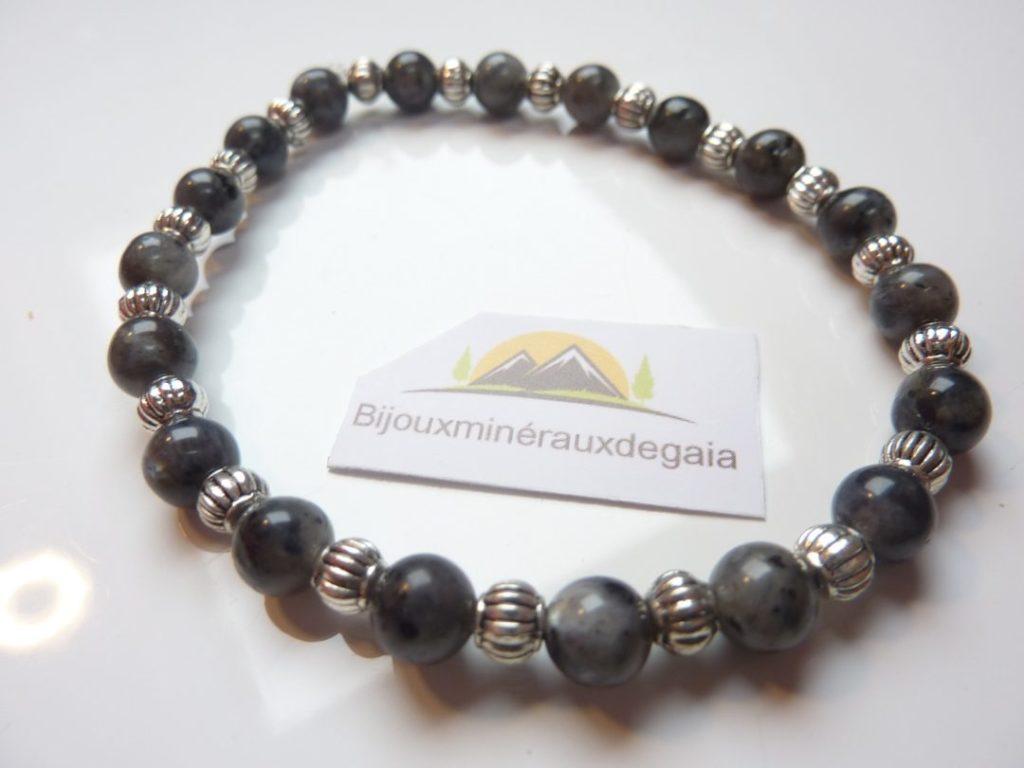 Bracelet Labradorite-Larkivite-Argent tibétain-Perles rondes 6 mm