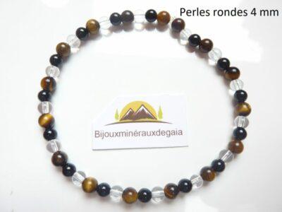Bracelet quartz cristal de roche-Oeil de tigre-Tourmaline noire perles rondes 4 mm