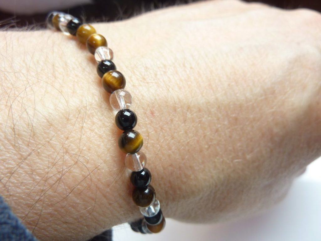 Bracelet quartz cristal de roche-Oeil de tigre-Tourmaline noire - 4 mm