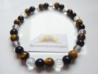 Bracelet quartz cristal de roche-Oeil de tigre-Tourmaline noire - 6 mm